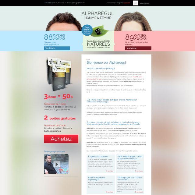 Conception de site web de vente en ligne, contre la perte de cheveux au Canada