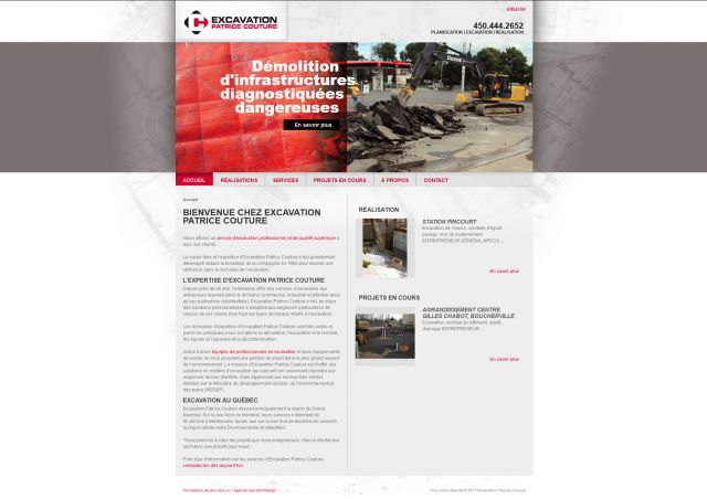 Site web d'excavation Patrice Couture