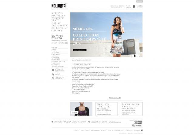 Site web e-commerce de vêtements pour femme Kollontai